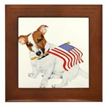 Jack Russell With USA Flag Framed Tile