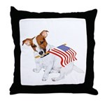 Jack Russell With USA Flag Throw Pillow