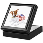 Jack Russell With USA Flag Keepsake Box