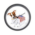 Jack Russell With USA Flag Wall Clock