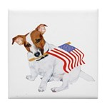 Jack Russell With USA Flag Tile Coaster