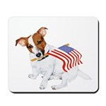 Jack Russell With USA Flag Mousepad