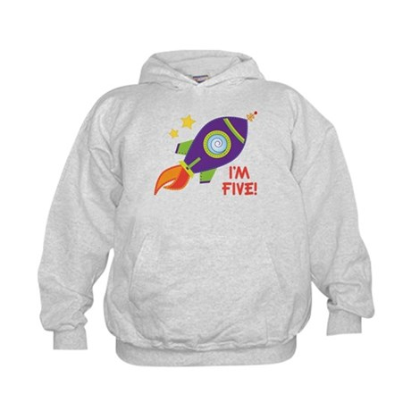 5th Birthday Rocketship Kids Hoodie