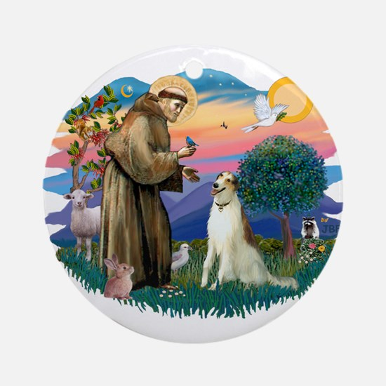 St Francis #2/ Borzoi Ornament (Round)