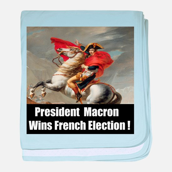 President Macron Wins French Election baby blanket