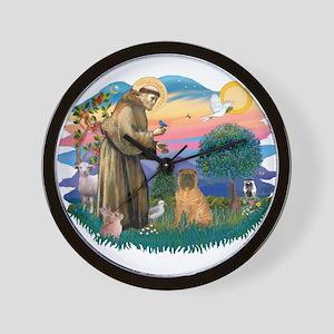 St Francis #2/ Shar Pei (#3) Wall Clock