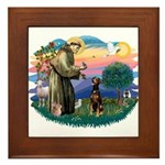 St Francis #2/ Doberman Framed Tile