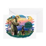 St Francis #2/ Doberman Greeting Cards (Pk of 20)