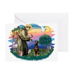 St Francis #2/ Doberman Greeting Cards (Pk of 20)