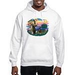 St Francis #2/ Doberman Hooded Sweatshirt