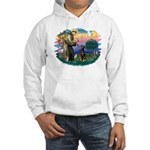 St Francis #2/ Doberman Hooded Sweatshirt