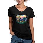 St Francis #2/ Doberman Women's V-Neck Dark T-Shir