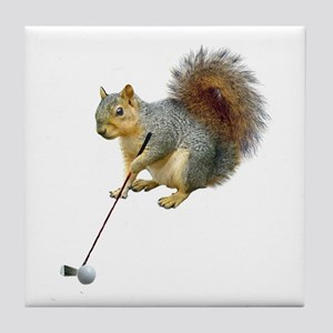 Golfing Squirrel Tile Coaster