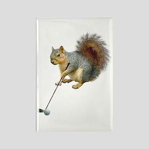 Golfing Squirrel Rectangle Magnet