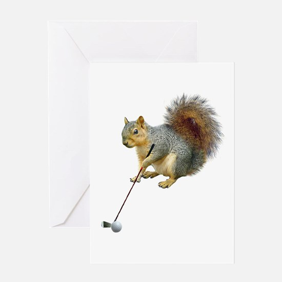 Golfing Squirrel Greeting Card