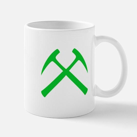 Crossed Rock Hammers (green) Mug