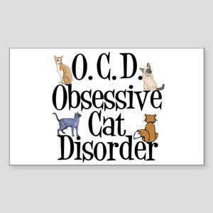Obsessive Cat Disorder Sticker (Rectangle)