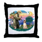St Francis #2/ Afghan Hound Throw Pillow