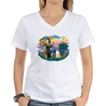 St Francis #2/ Afghan Hound Women's V-Neck T-Shirt