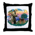 St Francis #2/ Airedale Throw Pillow