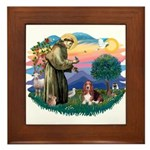 St Francis #2/ Basset Hound Framed Tile