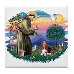 St Francis #2/ Basset Hound Tile Coaster