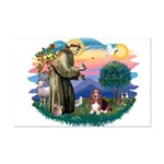 St Francis #2/ Basset Hound Mini Poster Print