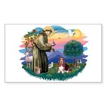 St Francis #2/ Basset Hound Sticker (Rectangle)
