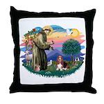 St Francis #2/ Basset Hound Throw Pillow