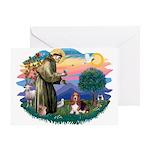 St Francis #2/ Basset Hound Greeting Card