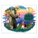 St Francis #2/ Basset Hound Small Poster