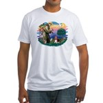 St Francis #2/ Basset Hound Fitted T-Shirt