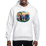 St Francis #2/ Basset Hound Hooded Sweatshirt
