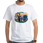 St Francis #2/ Basset Hound White T-Shirt