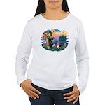 St Francis #2/ Basset Hound Women's Long Sleeve T-