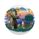 St Francis #2/ Boxer (nat ears) Ornament (Round)