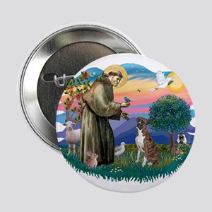 "St Francis #2/ Boxer (nat ears) 2.25"" Button"
