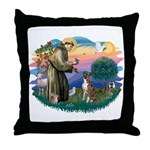 St Francis #2/ Boxer (nat ears) Throw Pillow