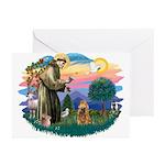 St Francis #2/ Cocker (brn) Greeting Cards (Pk of