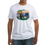 St Francis #2/ Eng Bulldog Fitted T-Shirt