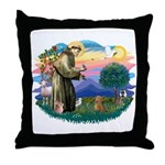 St Francis #2/ Dachshund (red) Throw Pillow