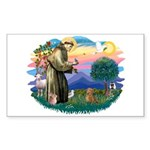 St Francis #2/ Dachshund (red) Sticker (Rectangle