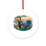 St Francis #2/ Cocker (blk) Ornament (Round)