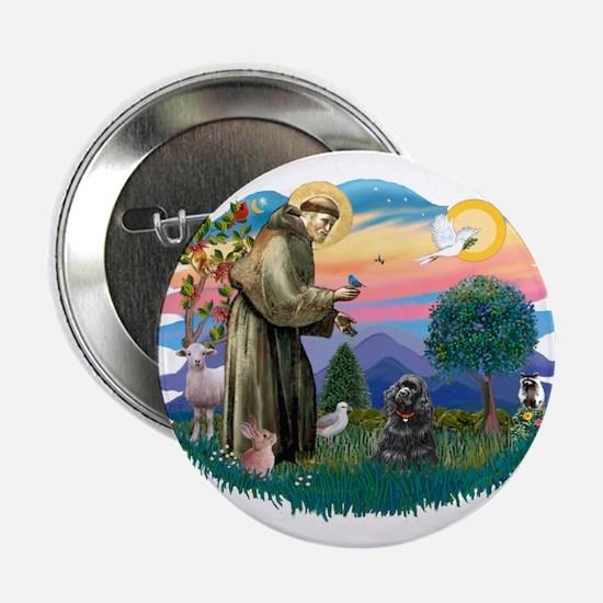 """St Francis #2/ Cocker (blk) 2.25"""" Button"""