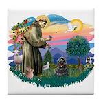 St Francis #2/ Cocker (blk) Tile Coaster