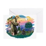 St Francis #2/ Cocker (blk) Greeting Cards (Pk of