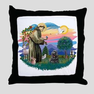 St Francis #2/ Cocker (blk) Throw Pillow