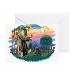 St Francis #2/ Cocker (blk) Greeting Card