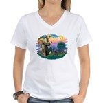 St Francis #2/ Cocker (blk) Women's V-Neck T-Shirt