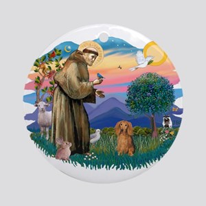 St Francis #2/ Dachshund (LH S) Ornament (Round)